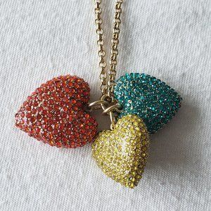 J. Crew 3 Hearts Necklace